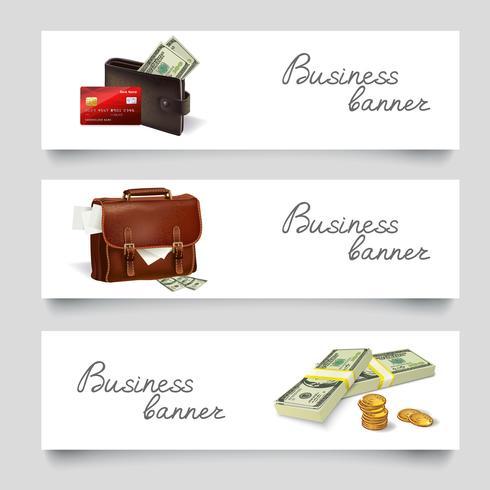 Maletines de negocios de dinero banners