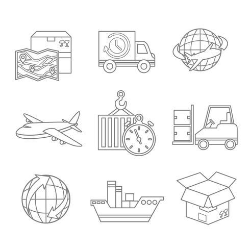Contour des icônes logistiques vecteur