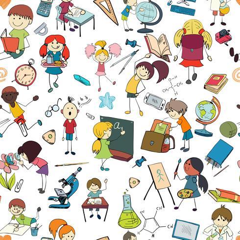 Kids school sketch seamless pattern