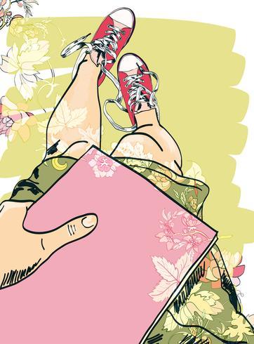 Gumshoes sketch legs girl vector
