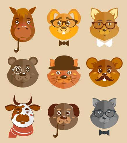 Iconos de animales hipsters