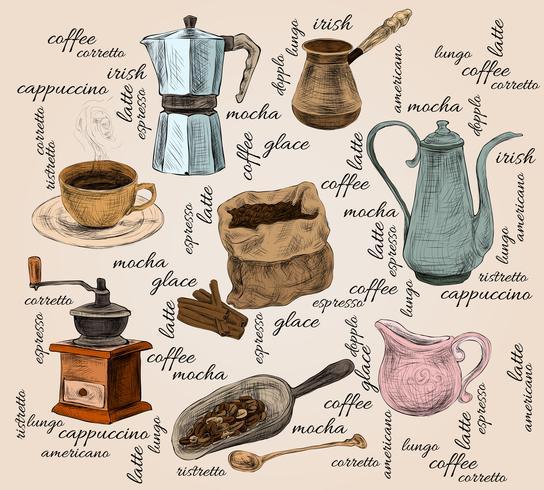 Set de café vintage handdrawn vector
