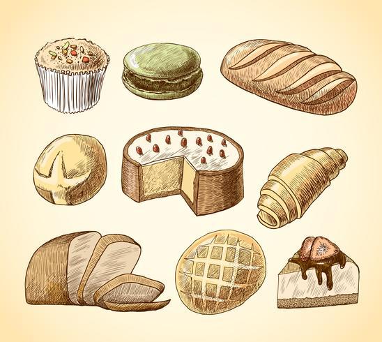 Conjunto de iconos decorativos de pastelería y pan