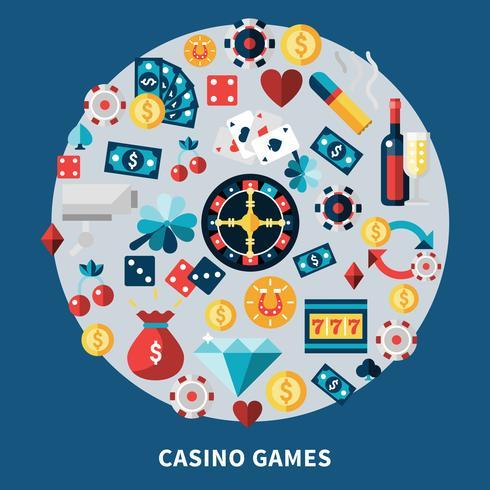 Iconos de juegos de casino composición redonda