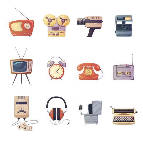 retro media gadgets tecknad set