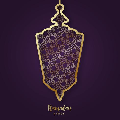 Illustration of Ramadan Kareem with decorative Arabic lamp in paper cut style and lettering.