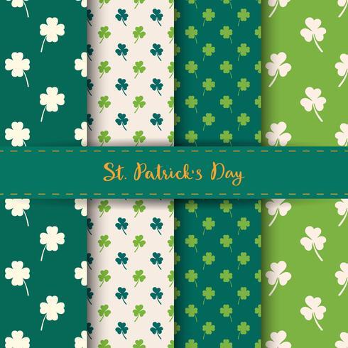 Set van St. Patrick's Day naadloze patronen met klaver en klaver in groene en witte kleur.