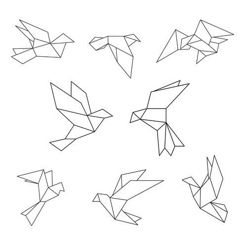 Conjunto de pomba geométrica de linha preta.