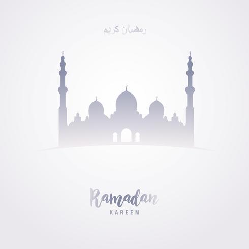 Saludo de Ramadan Kareem en árabe como forma de la mezquita en fondo gris.