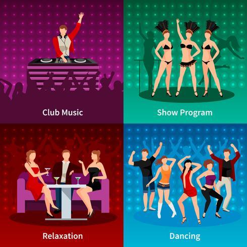 Dance Club 4 iconos planos cuadrados