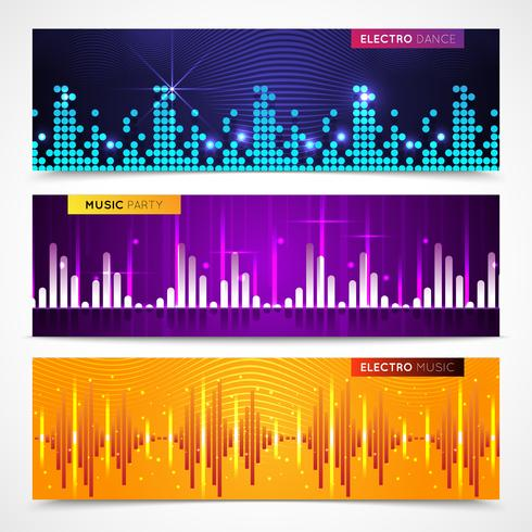 Audio Equalizer Banners Set  vector