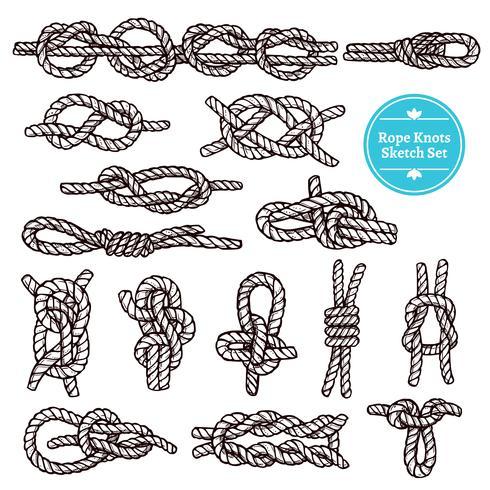 Conjunto de bocetos de nudos de cuerda