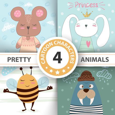 Tecknad uppsättning djur björn, kanin, bi, valross.