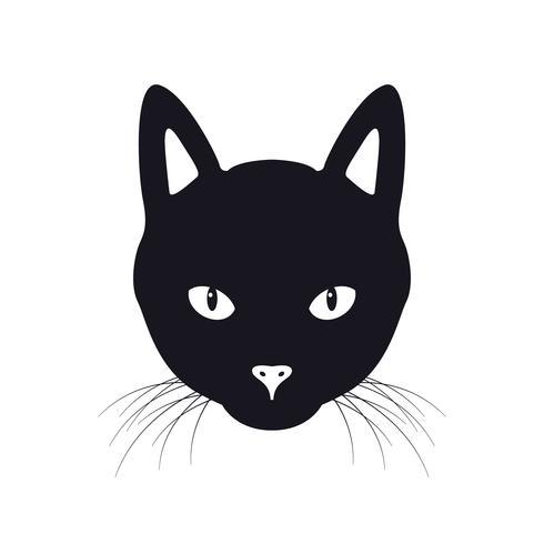 L'illustrazione di vettore del fronte del gatto nero, isolata su una priorità bassa bianca.
