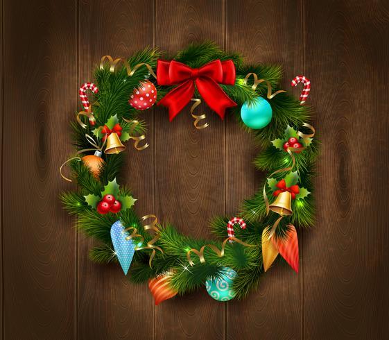 Manifesto di corona di Natale festivo vettore