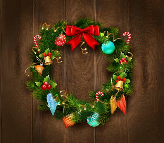 Festive Christmas Wreath Poster vector