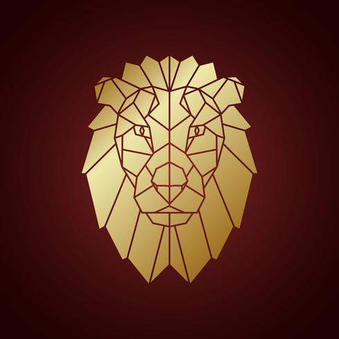 Golden lion head, geometric silhouette isolated on dark background.