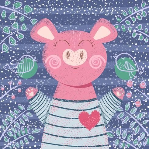 Maiale di inverno carino - illustrazione di bambini.