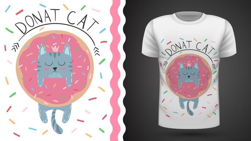 Chat avec beignet - idée d'un t-shirt imprimé.