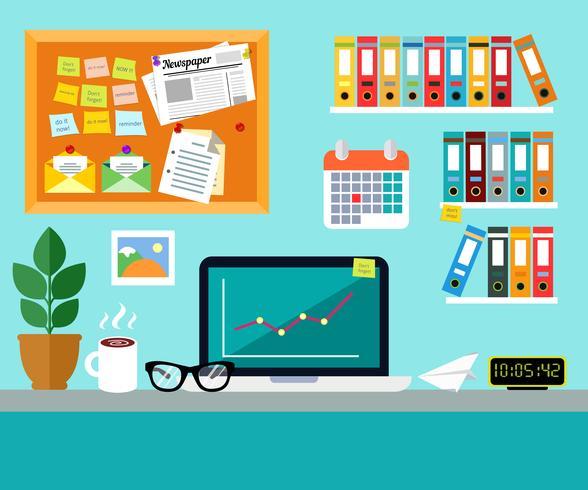 Concetto di design di ufficio sul posto di lavoro