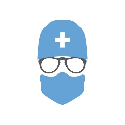 Avatar doctor surgeon in hat and mask. vector