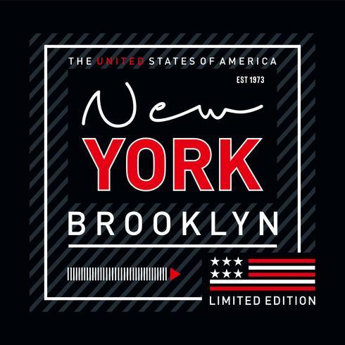 T do design da tipografia de Brooklyn para a camisa de t