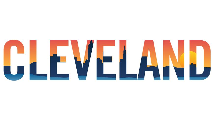 Cleveland skyline i text isolerad vektor grafisk illustration