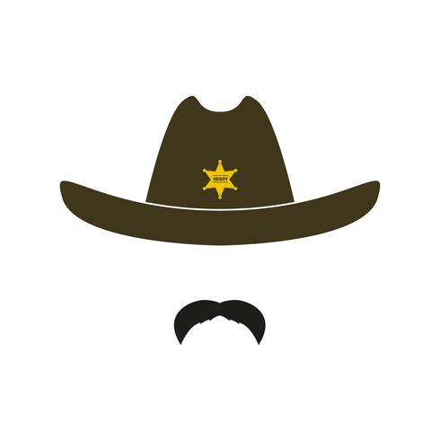 Sheriff face icon isolated on white background.  vector