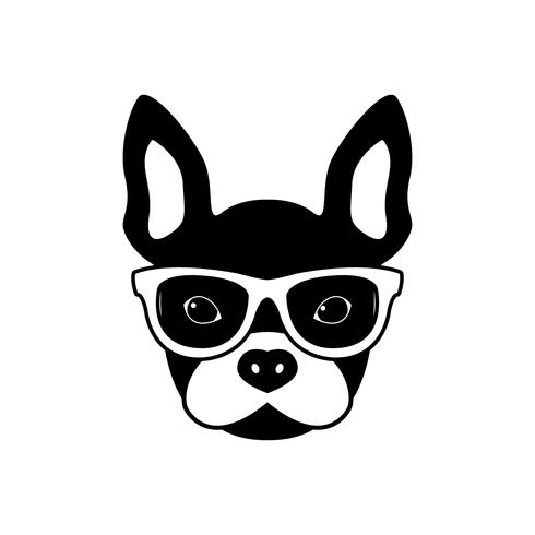 Portrait of french bulldog with glasses vector