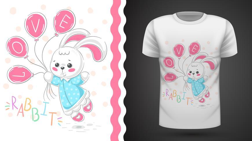 Princesa conejo - idea para camiseta estampada. vector