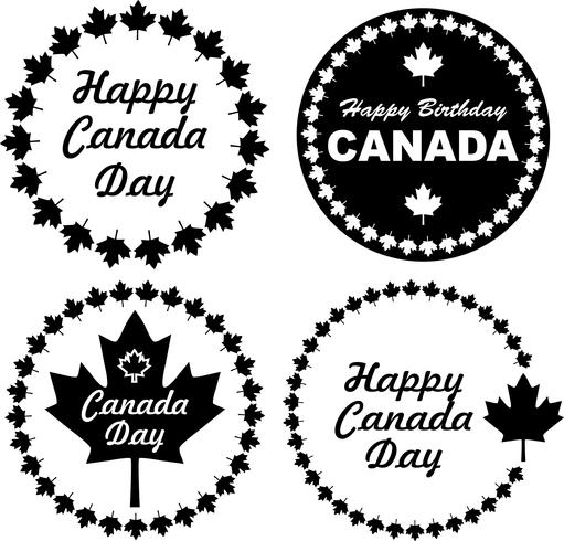 Black Canada Day emblems vector
