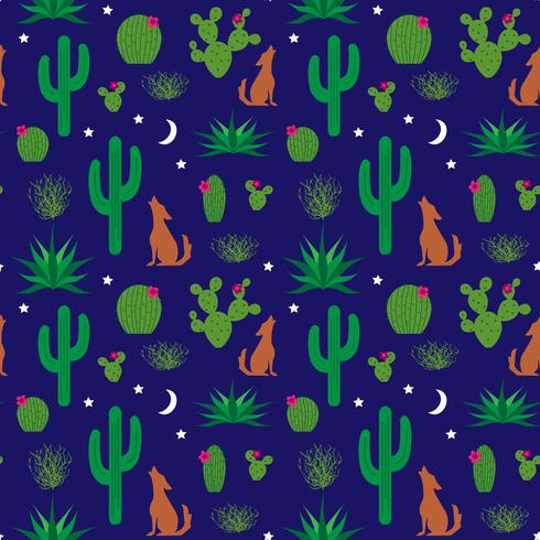 coyote and cactus pattern vector