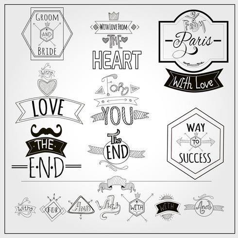 Doodle retro lemas de colección de pizarras emblemas