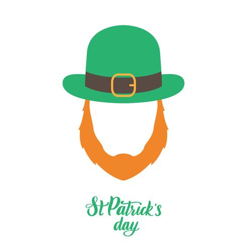 Irish elf with red beard and green hat. St. Patrick's Day.