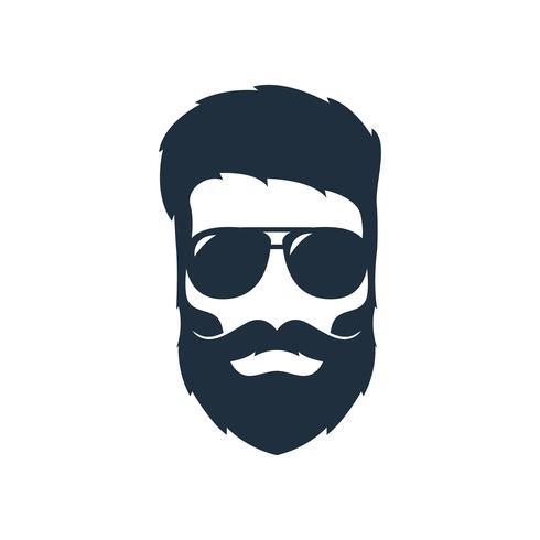 Ilustração de uma cabeça de hipster com uma barba vetor