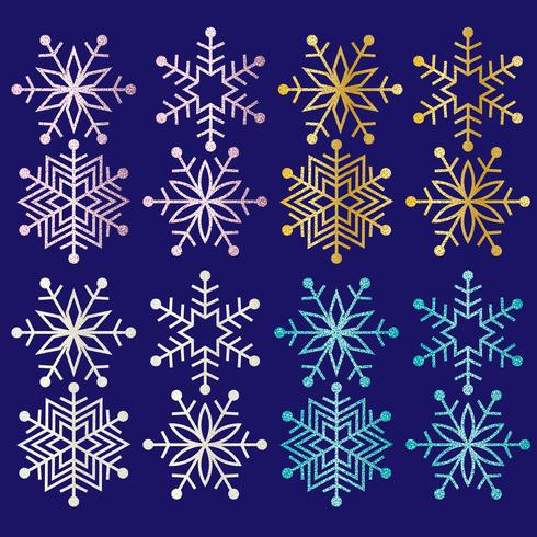 glitter snowflakes clipart