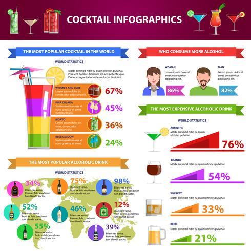 Conjunto de infográficos de coquetel