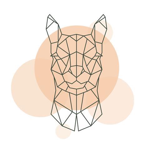 Testa geometrica di Alpaca. Animale selvaggio. vettore