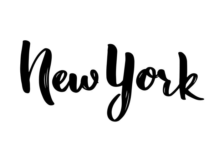 Caligrafía de letras de Nueva York a mano. Dibujado a mano pincel de caligrafía. vector