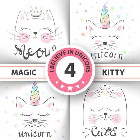 Chat, kitty, licorne, caticorne, - illustration de bébé. idée de t-shirt imprimé.