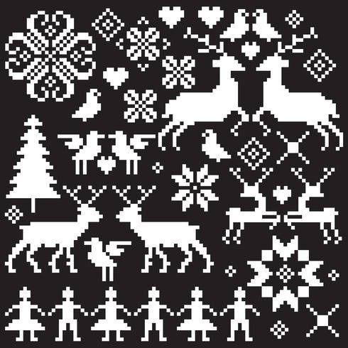 motifs d'hiver vecteur nordique blanc