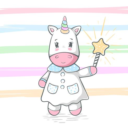 Cute, funny unicorn illustration. Magic trick and wand. vector