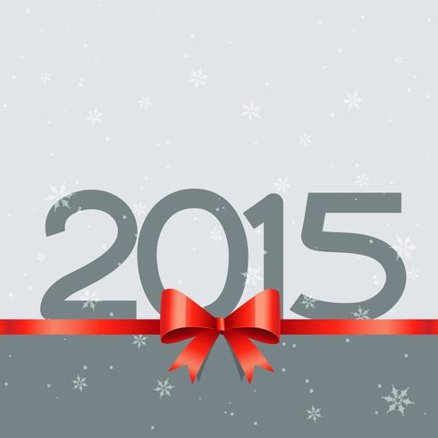 2015 new year design with red ribbon