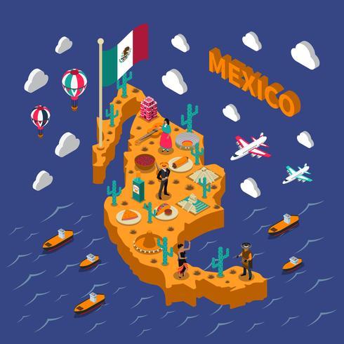 Carte isométrique des symboles des attractions touristiques mexicaines vecteur