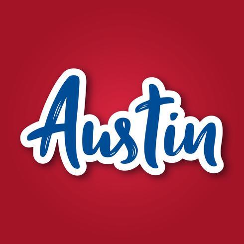 Austin - expression de lettrage dessiné à la main. Autocollant avec lettrage en style de papier découpé.