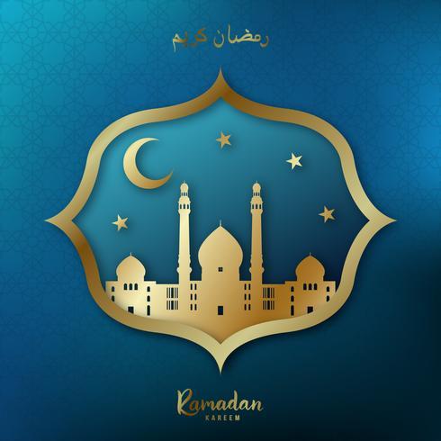Tarjeta de felicitación de Ramadán Kareem. Mezquita dorada, luna creciente, estrellas doradas sobre fondo azul.