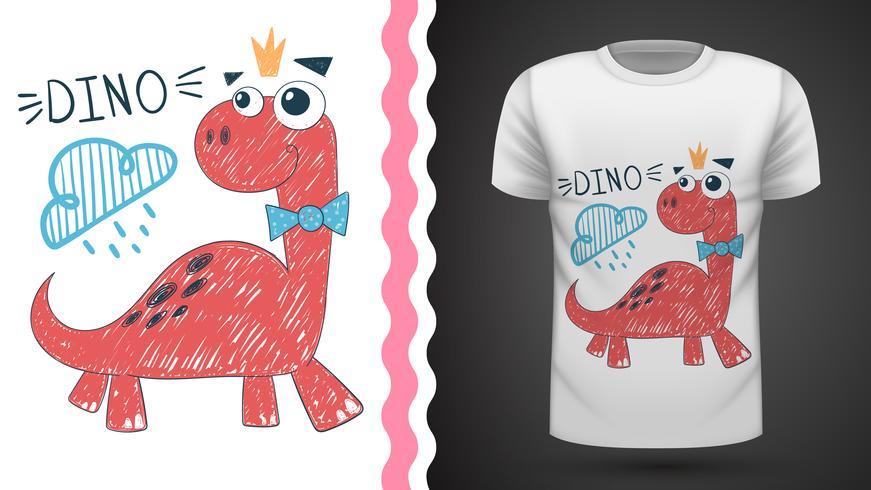 Cute princess dinosaur - idea for print t-shirt. vector