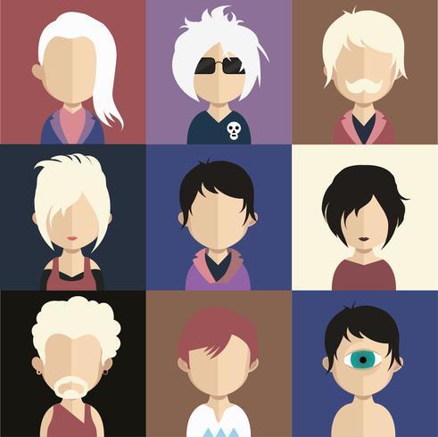 Avatars de personnes avec des arrière-plans colorés