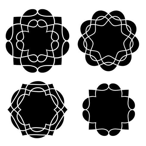 svarta medaljongformer vektor