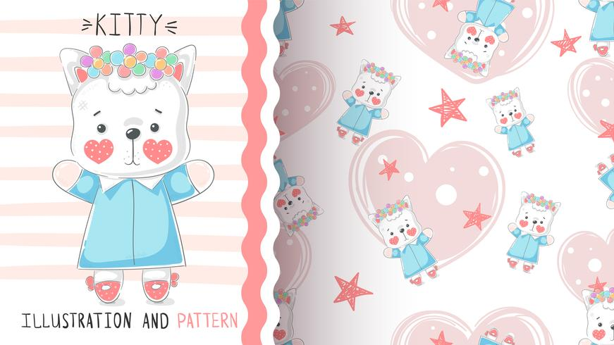 Söt teddy kitty - sömlöst mönster. vektor